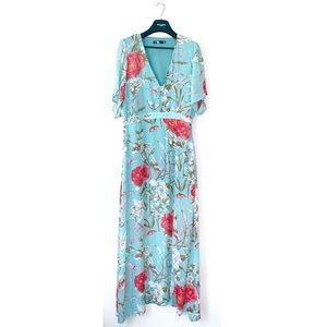 MISSGUIDED FLORAL BLUE BUTTERFLY MAXI DRESS FLOWY